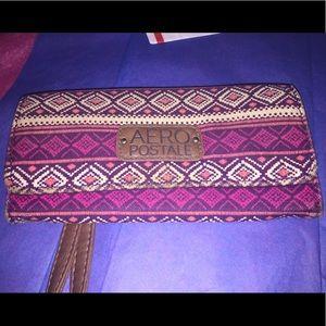 Aeropostale's Tribal Print 🧲 Flap Snap Wallet